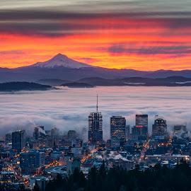 Just Another Epic Sunrise Over Portland, Oregon by Jake Egbert - Landscapes Sunsets & Sunrises ( oregon, instagram, portland, fog, view point, 2015, vista, pittock mansion, pittock, sunrise, pdx, landscape, city )