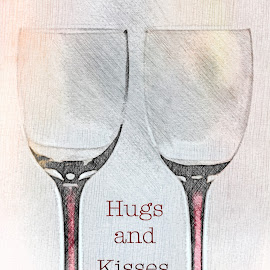 Hugs and Kisses by Sherry Hallemeier - Typography Words ( wine, anniversary, hugs, glasses, valentines, stemware, special occasions, romantic, date, valentine, romance, love, holiday, evening out, wine glass, glass, kisses,  )