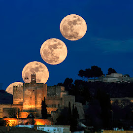 The moon rises behind the Alhambra in Granada  by Arturo Ávila - Buildings & Architecture Statues & Monuments ( moon, alhambra, granada, spain )