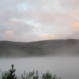 Dawn in a northern valley by Allyson Macdonald - Landscapes Cloud Formations ( tongue of fog creeps in over the river, 4:00 a.m., soft lights, 65 n, long nights )