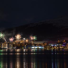 The Blue City by Yvonne Reinholdtsen - Public Holidays New Year's Eve ( new year, fireworks, vesterålen, cityscape, norway,  )