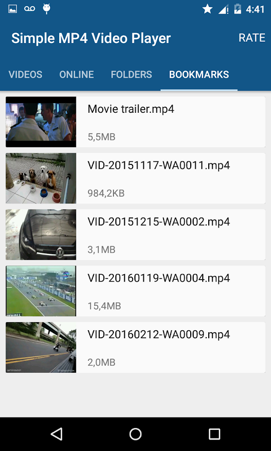 Einfache MP4 Video Player – Screenshot