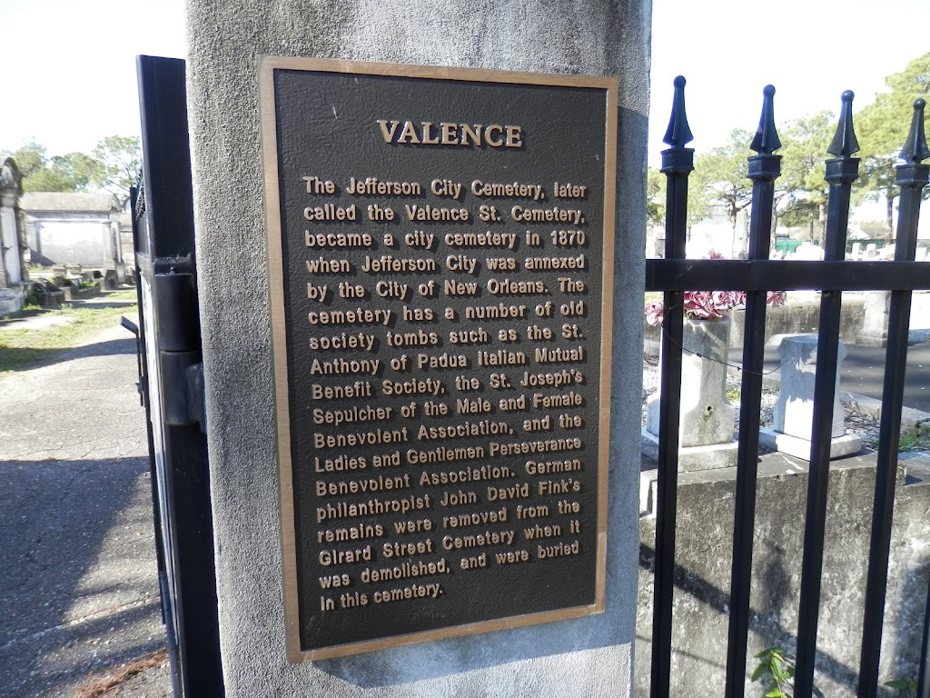 The Jefferson City Cemetery, later called Valence St. Cemetery, became a city cemetery in 1870 when Jefferson City was annexed by the City of New Orleans. The cemetery has a number of old society ...
