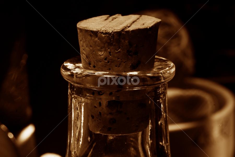 Cork in the Bottle by Frank Matlock II - Artistic Objects Still Life ( macro, cork, still life, glass, bottle, close )