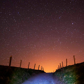 To Ales stones by Staffan Håkansson - Landscapes Sunsets & Sunrises ( fence, sky, stars, path, night, black )