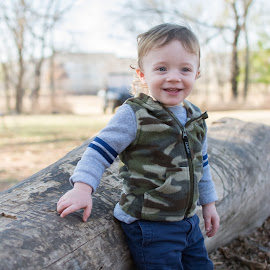 Little Boy Big Log by Eva Ryan - Babies & Children Children Candids ( child, cammo, outdoors, young, boy,  )