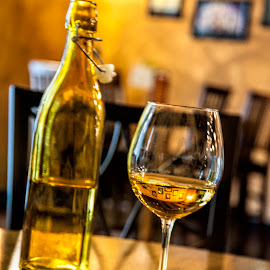 Golden Wine by Kimberly Sheppard - Food & Drink Alcohol & Drinks ( wine, wine glass, white wine, table, bottle, winery )
