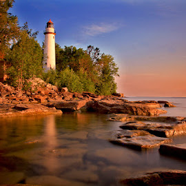 Point Aux Barques Light House by Mike Grosso - Landscapes Sunsets & Sunrises ( michigan, point aux barques, sunsets, lake huron, lighthouse, sunrise, great lakes )