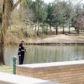 Taps by Steve Wieseler - City,  Street & Park  Cemeteries ( bugle, cemetary, lake, u.s. marine, ceremony )