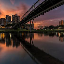 by Gordon Koh - Buildings & Architecture Bridges & Suspended Structures ( pond, reflection, city, asia, city park, bishan, singapore, modern, urban, symmetry, sunset, cityscape, modern city, park )