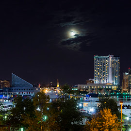 Moon Over Baltimore by Michael Holmes - City,  Street & Park  Skylines ( building, star spangled spectacular, baltimore, night, cityscape, landscape, city, city at night, street at night, park at night, nightlife, night life, nighttime in the city )