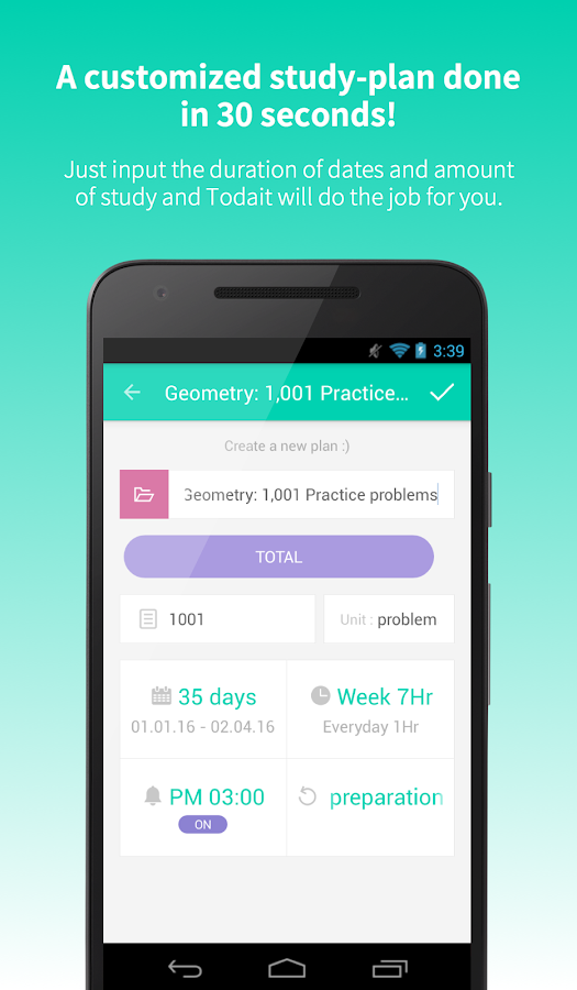 Todait - Smart study planner Screenshot 1