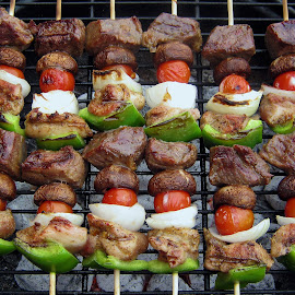 Shish Kebab - After  by Abbey Gatto - Food & Drink Meats & Cheeses ( food, dishes, meats, close up, grilling, shish kebab )