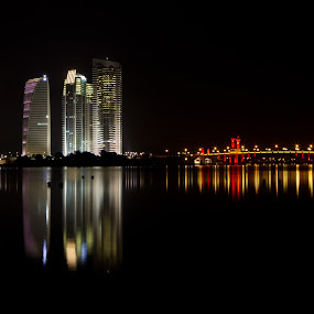 turn leftEdit  by Danial Abdullah - City,  Street & Park  Vistas ( canon, water, reflection, building, night-life, putrajaya, at night, lake, ts-e, 24mm, city, 7d, night, bridge, lakeside, light )