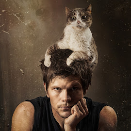 Cat is a Hat by Tyler Oxley - People Portraits of Men ( studio, pose, cat, fashion, grunge, texture, dark, funny, men, ghost, man,  )
