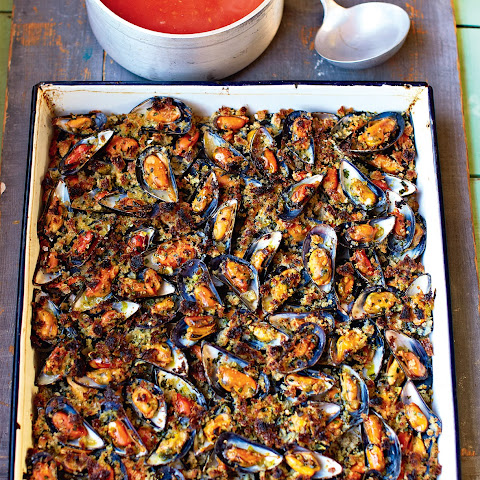 Grilled Garlic Mussels Sweet Tomato Soup