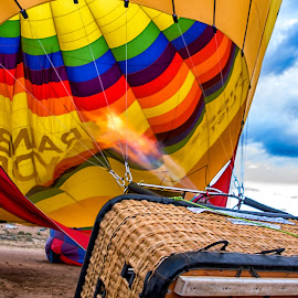 Raising the Balloon  by Carol Ward - Transportation Other ( hot air balloon, albuquerque nm, albuquerque, balloon inflation, transportation )