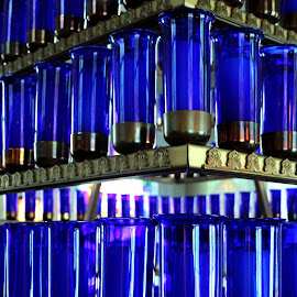 Votive Chapel, Our Lady of Guadeloupe, La Crosse, Wisconsin by Jo Brockberg - Buildings & Architecture Places of Worship ( bronze, wisconsin, catholic, votive, church, metal, blue, candles, glass, beauty, chapel, light, religious, mood factory, color, lighting, moods, colorful, bulbs, mood-lites )