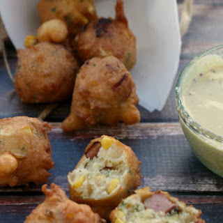 Corn and Smoked Sausage Fritters with Mustard-Beer Dipping Sauce