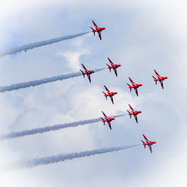Formation Flying by Simon O'Neill - Transportation Airplanes ( displays, red arrows, airplanes, transportation, planes, airshow )