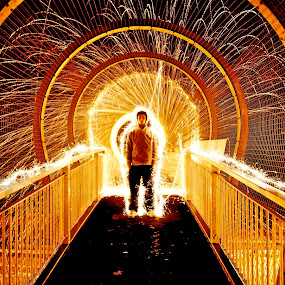 Sparkling aura  by Adam Scarf - Abstract Light Painting ( portraiture, light painting, steel wool, self portrait, sparklers )