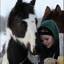 Flash and Kaitlyn by Janet Gilmour-Baker - Animals Horses ( animals, winter coat, winter, friends, horses, saskatchewan, family, girls best friend, horse )