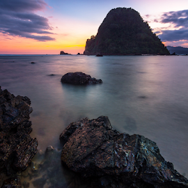 Blue Sunset by Ade Noverzan - Landscapes Waterscapes ( sunset, twilight, beach, rocks, island )
