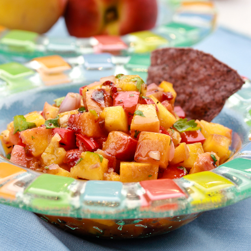 salsa with pan roasted tomatillos peach salsa summer peach salsa