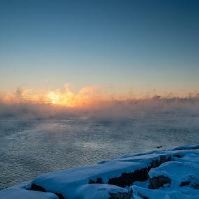 Good Bye 2017 by Jack Noble - Landscapes Sunsets & Sunrises ( last sunrise, toronto, december 31 2017, -31°c, photography, lake ontario, jack nobre, winter, nature, cold, fog, freezing cold, sunrise,  )