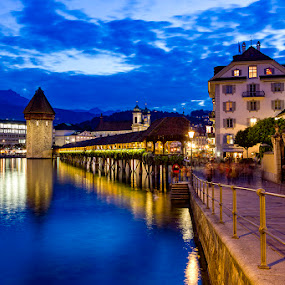 Blue up and down by Amit Aggarwal - Landscapes Travel ( water, clouds, reflection, nextgenclicks, blue sky, sunset, switzerland, lake, lucerne, evening )