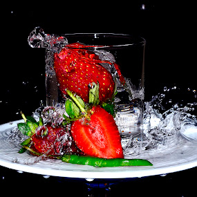 twin strawchili 4 by Angelo Jadulco - Food & Drink Fruits & Vegetables ( water, red, splash, glass, strawberry, chili )