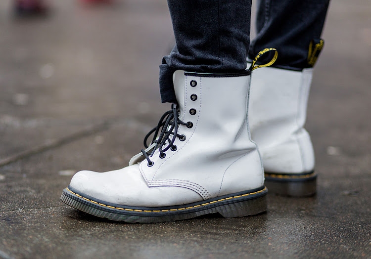 White Dr. Martens boots during London Fashion Week Men's January 2017