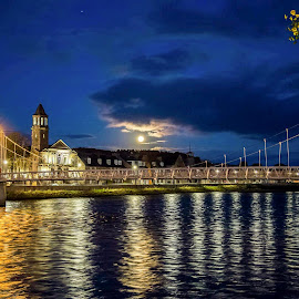Moonset on the river Ness by Gordon Bain - City,  Street & Park  Night ( tranquil, moonset, river reflections, inverness )