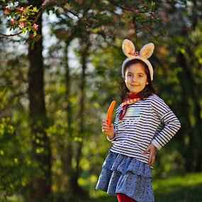 The bunny by Nicu Buculei - Babies & Children Child Portraits ( girl, bunny, children, kids, portrait,  )