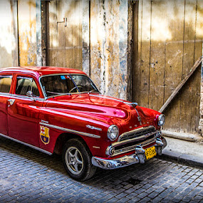 cars, cuba, classic, red, old. by Justin Welch - Transportation Automobiles