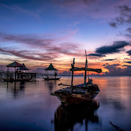 Waiting for Sunrise by Agus Sudharnoko - Transportation Boats