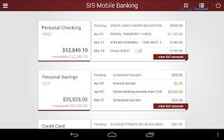 Screenshot of SIS Mobile Banking
