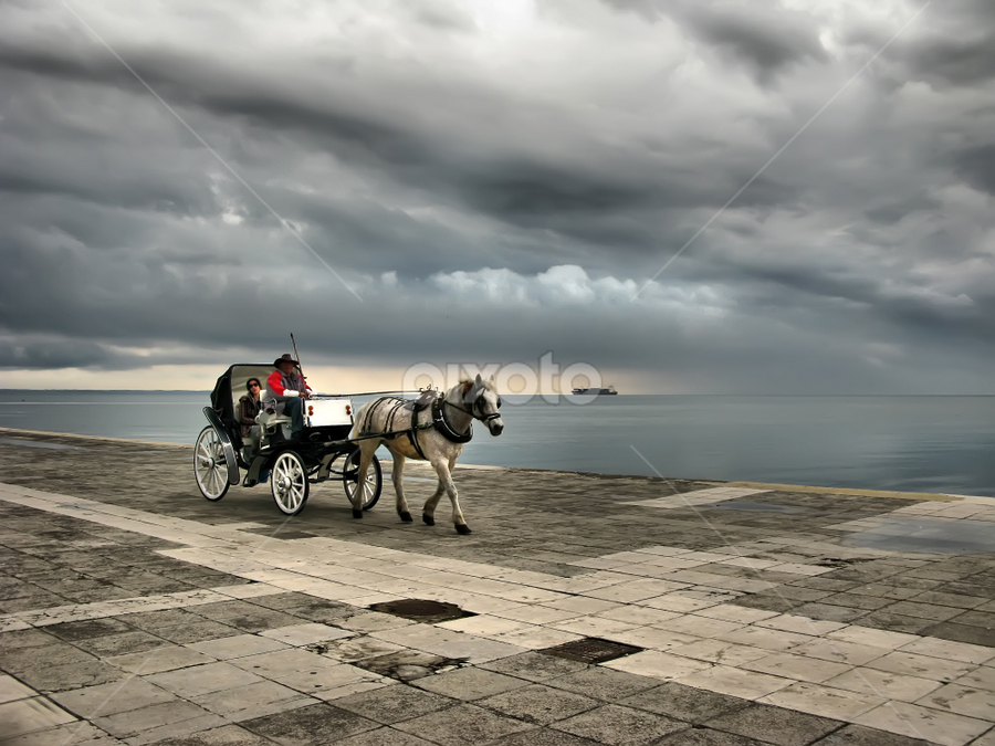 Coming storm by Daliana Pacuraru - City,  Street & Park  Street Scenes ( water, clouds, daliana pacuraru, pwcfoulweather, ship, horse, storm )