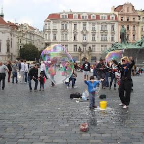 by Yury Tomashevich - City,  Street & Park  Street Scenes ( city scene, street, bubbles, fun )