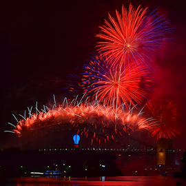 Fresh Colors by Kamila Romanowska - Abstract Fire & Fireworks ( new year, 2015, celebrations, australia, fireworks, sydney )
