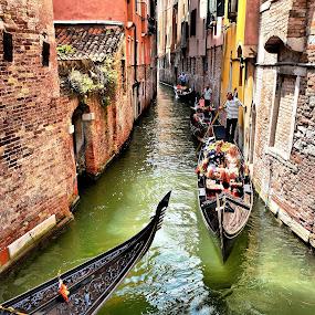Venetian scene by Francis Xavier Camilleri - Transportation Boats