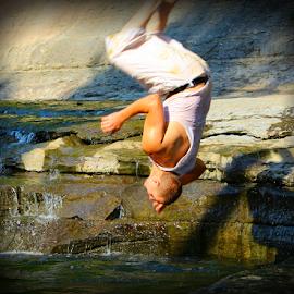 Creek Jump by Jennifer Duffany - Sports & Fitness Swimming ( creek jump creekjump flip frontflip )