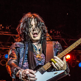 Tom Keifer playing electric guitar by Dazz Lee Briggs - People Musicians & Entertainers ( music, concert, electric, professional people, people, entertainment, rock n roll, ohio bike week concert, performance, guitarist, performer, musician, man, entertainer, tom keifer, electric guitar )