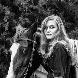 Woman and her horse by Myra Brizendine Wilson - Animals Horses ( clothing, renaissance festival, kelsey, horse, re, female model, fashion model, renaissance, horseback, female, and fashion, costume, stables,  )