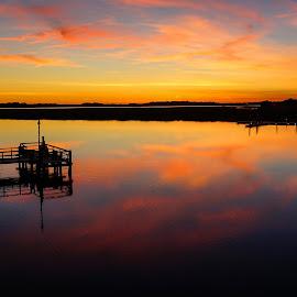 Folly River Sunset 2 by Jonathan Wheeler - Landscapes Waterscapes ( folly river, sunsets, sc coast, sc lowcountry, folly beach sc, sunset reflections )