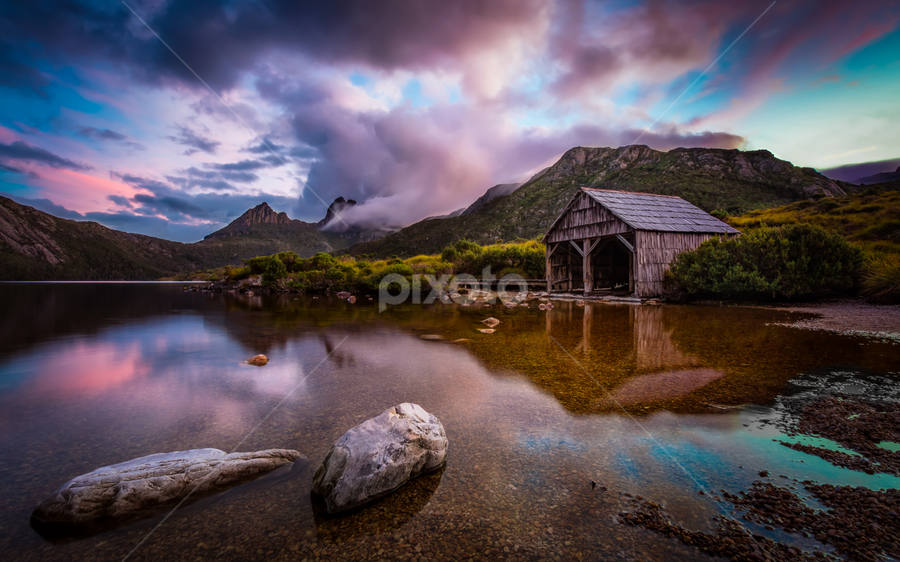 Serenity by Rebecca Ramaley - Landscapes Waterscapes ( reflection, cradle mountain, sunset, boat shed, dove lake,  )
