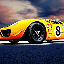 John's GT by JEFFREY LORBER - Transportation Automobiles ( race car, carphotoz, lorberphoto, rust 'n chrome, yellow car, gt, ford, jeffrey lorber )