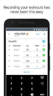 Strong: Exercise Gym Log, 5x5 Fitness app screenshot for Android