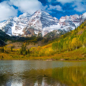 Fall Colors, Maroon Bells, Aspen CO by James Egbert - Landscapes Mountains & Hills