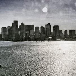 Dirty Window by Robert Fawcett - City,  Street & Park  Skylines ( boston harbor, boston, places, travel, cityscape )